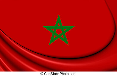 3D Flag of the Morocco.