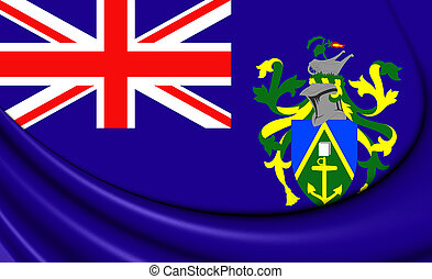3D Flag of the Pitcairn Islands. 3D Illustration.