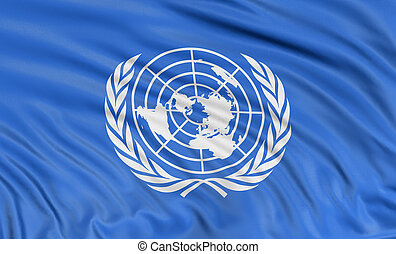 3D flag of the United Nations with fabric surface texture. ...