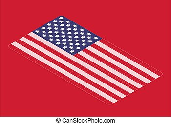 3D flag of the USA with grids, isometric vector illustration