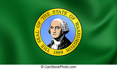 Flag of the Washington State, USA. - 3D Flag of the ...