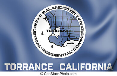 3D Flag of Torrance (California), USA. 3D Illustration.