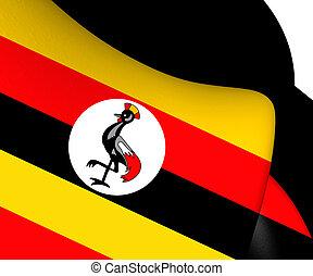 3D Flag of Uganda. 3D Illustration.