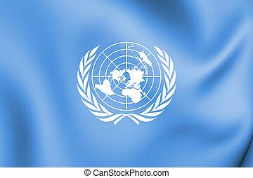 3D Flag of United Nations. 3D Illustration.