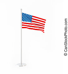 3D flag of United States of America isolated on white