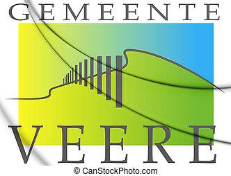 3D Flag of Veere (Zeeland), Netherlands. 3D Illustration.