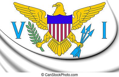 3D Flag of Virgin Islands of United States. 3D Illustration.