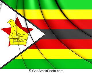 3D Flag of Zimbabwe. 3D Illustration.