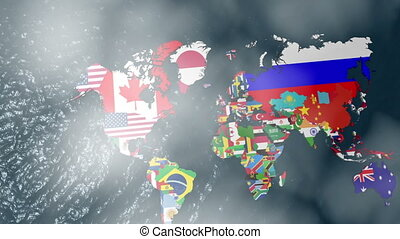 3D Flag World Map to USA with Cloud