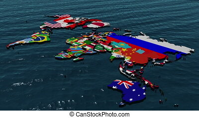 3D Flag World with Zoom to Middle E