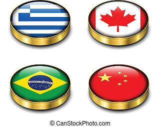 3D flags button
