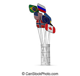 3d flags of different countries in a metal basket on a white background isolated