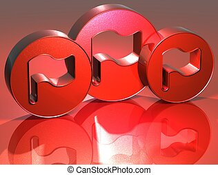 3D Flags Red Sign