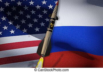 3d, flags., render, estados unidos de américa, rusia