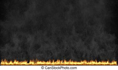 3d, flamme, brûler, render, lent, remplir, animation, matte., mouvement, alpha, explosion, cadre
