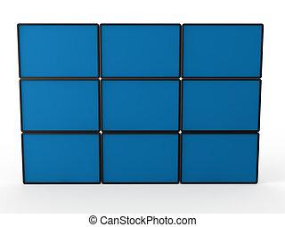 3d flat lcd wall tv blue technology