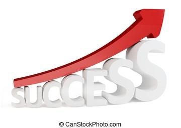 3d, flecha roja, manera, a, éxito