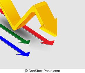 3d, flechas, vector, ilustración