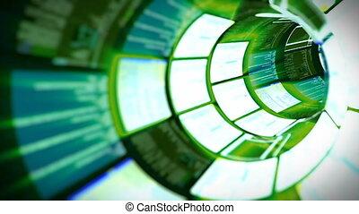 3D flight in green optic tunnel data processing