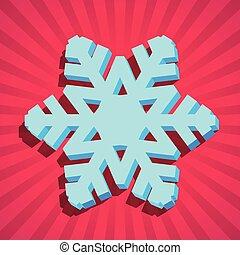 3d, flocon de neige, noël