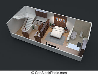 3D Floor Plan of Small Unit