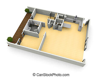 3d floorplan from above