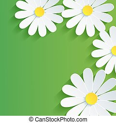 3d flower chamomile, spring abstract background. Vector...