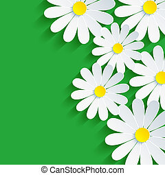 3d flower chamomile, spring background abstract