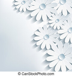 3d flower chamomile, stylish abstract background