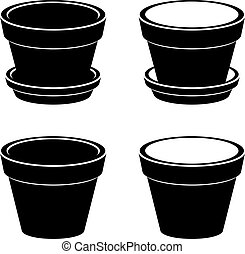 3D flowerpot black symbol - illustration for the web