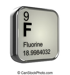 3d render of the fluorine element from the periodic table