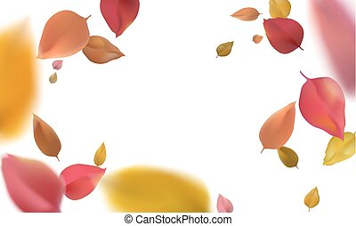3d flying autumn leaves. Red yellow wind blurred leaf isolated on white background vector illustration