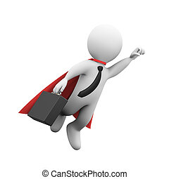 3d flying businessman super hero superman in a raincoat