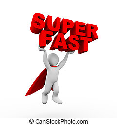 3d flying businessman super hero superman in a raincoat carrying text super fast