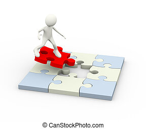 3d illustration of man surfing on red final puzzle piece to solve problem. 3d human person character and white people