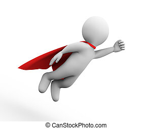 3d flying super hero superman in a