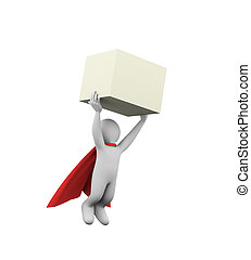 3d flying super hero superman in a raincoat carrying box