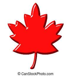 3d, foglia, canadese