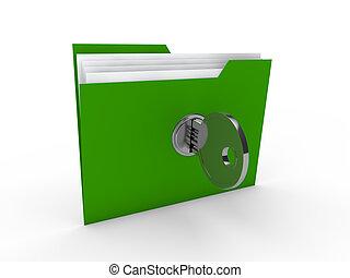 3d folder document green data key security