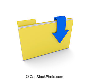3d folder with documents and download arrow isolated over white