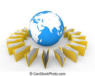 3d folders and earth globe