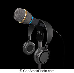 (3d, fones, microfone, illustration).