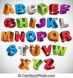 3D font, bold colorful alphabet.