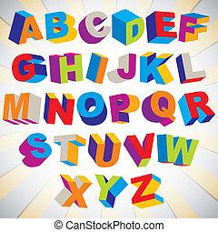 3D font, bold psychedelic colorful alphabet. - 3D font, bold...