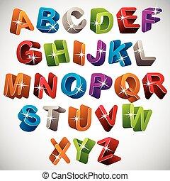 3D font, funny colorful alphabet.