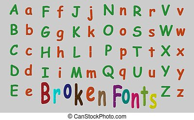 3d font in the style of a broken or cracked. Vector illustration. It's easy to change the color.