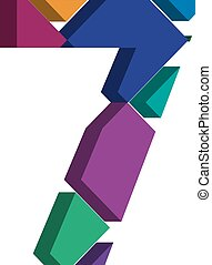 3d font number 7 - Colorful three-dimensional font number 7