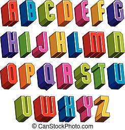 3d font, vector bold and heavy letters, geometric dimensional alphabet, best for use in advertising and web design.