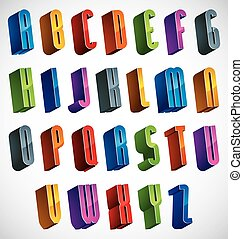 3d font, vector colorful letters