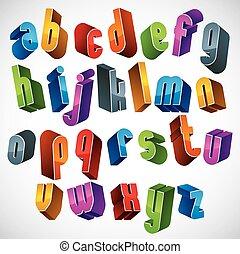 3d font, vector colorful letters, geometric dimensional alphabet.